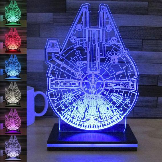 Lampara Led 3d Carga Tel Celular Halcon Milenario Star Wars