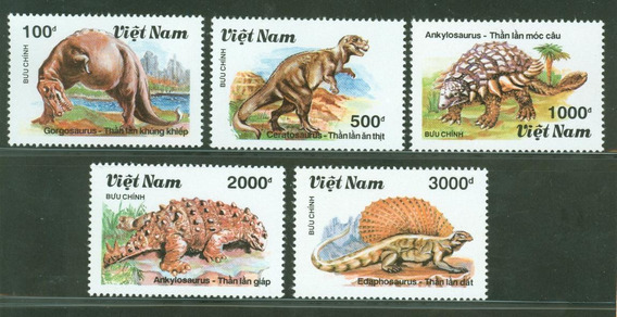 Estampillas Vietnam 1990 Dinosaurios Serie Completa Mint