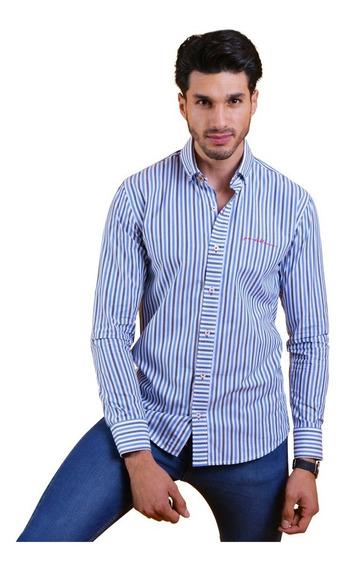 Camisa Porto Blanco Caballero 100% Algodón Rayas C-649