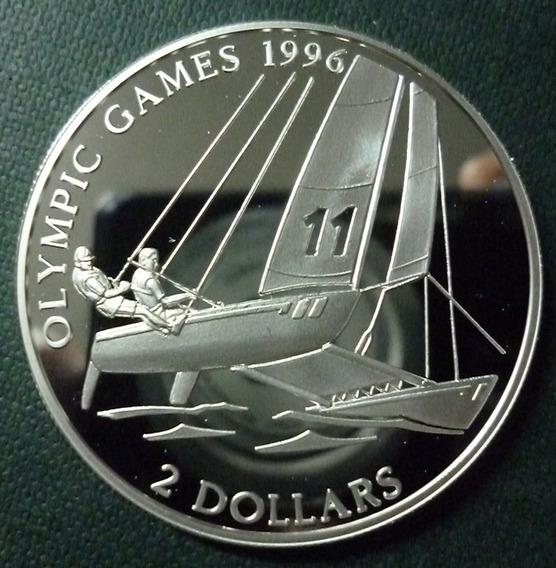Bahamas Moneda Plata 2 Dolares 1995 Olimpicos Atlanta Regata