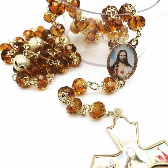 Terço Sagrado Coração De Jesus De Cristal Facetado