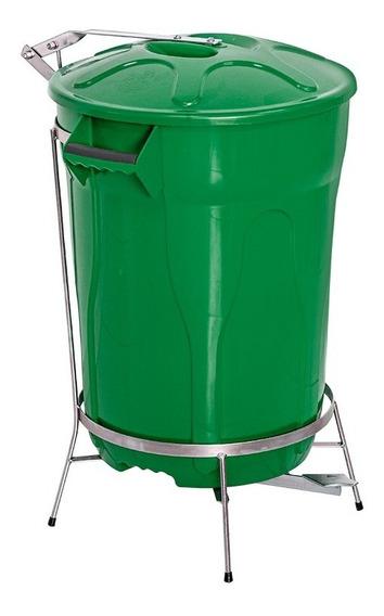 Lixeira Pedal De Aço Verde 100 Litros