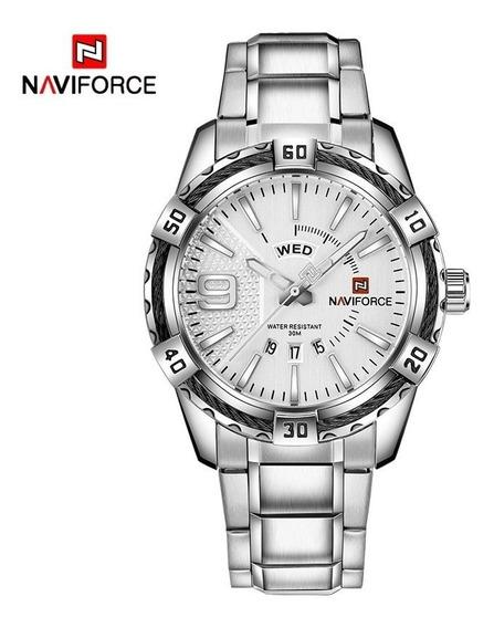 Relógio Masculino Prata Naviforce Original A Prova D Agua