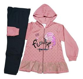 3 Conjunto Blusa Moletom Calça Infantil Feminino Inverno