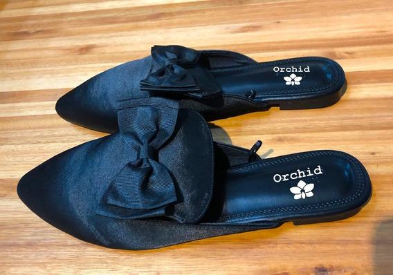 Sandalias Mujer Chatitas Moño Negro