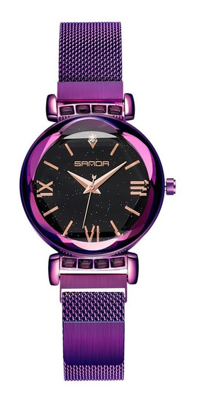 Mulher Relógios Da Moda Feminino Malha Strap Rodada Discagem