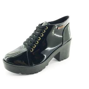 Bota Coturno Quality Shoes Feminina Verniz Preto