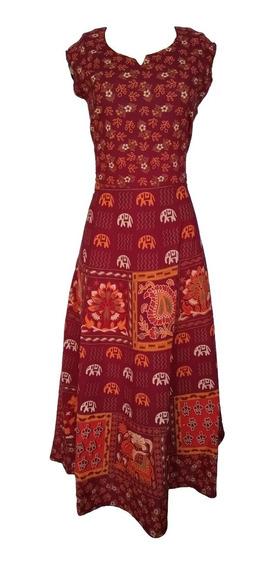 Vestido Estampado Moda Indiana Étnica Boho Hippie Midi Rodado