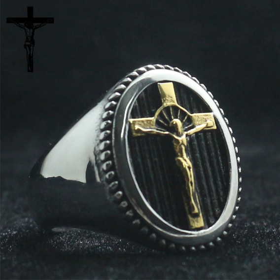 Anel Cruz Crucifixo Aço - Jesus - Renovação - Aço - Importad