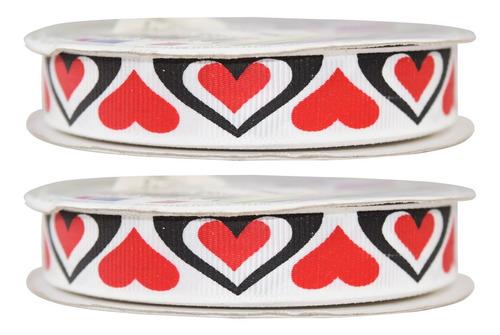 Imagen 1 de 3 de Listón Estampado De Corazones, 2 Piezas,san Valentín,bdc3