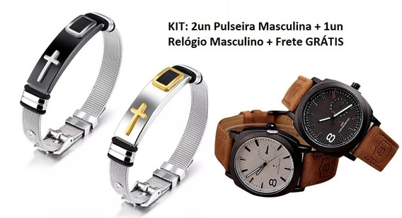 Kit 1 Relógio + 2 Pulseira Masculina Cruz Aço Inox Ouro 18k