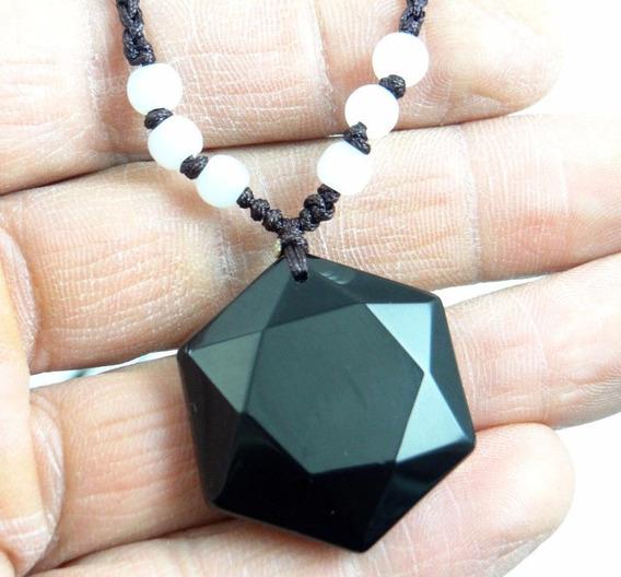 Colar Feminino Obsidiana Negra Pedra Natural Hexagono J3213