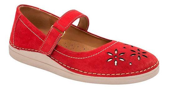 Zapato Piso Dama Zoe Rojo Piel Flor Correa C27619 Udt