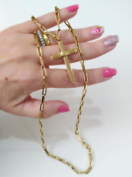 Corrente Tipo Cartier Com Pingente Cruz, Ouro Amarelo 18k , Comprimento 57,5 Cm Certificado De Garantia E Nota Fiscal.