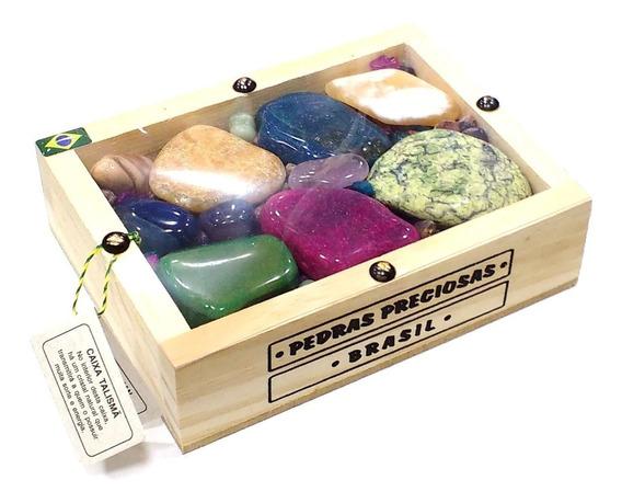 Caixa C/ Coleção De Pedras Brasileiras Artesanato Souvenir