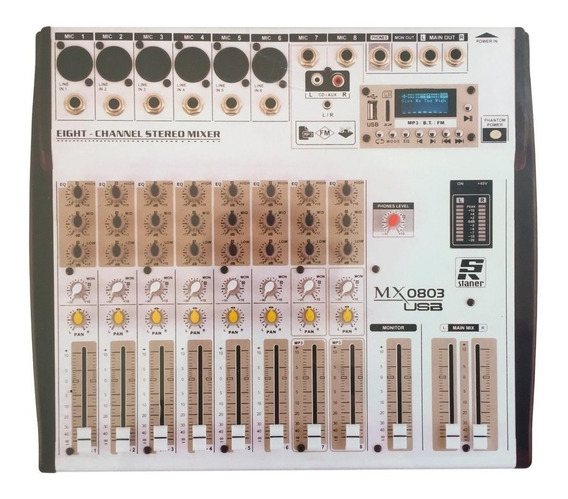 Mesa De Som Mixer Staner Mx-0803 Usb 08 Canais