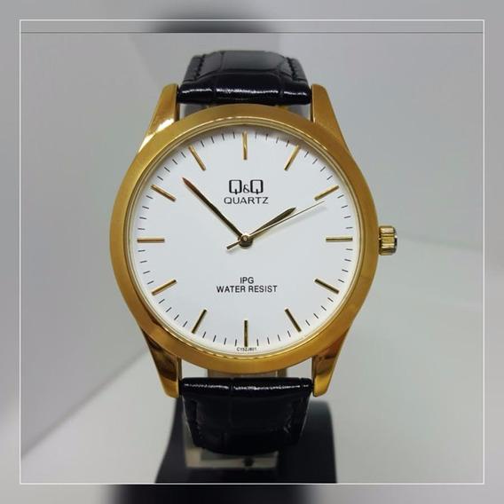 Relógio Masculino Grande Fundo Branco Couro Preto Lindo Q&q