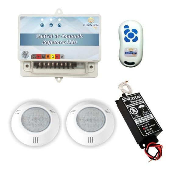 Kit 2 Power Led Rgb Abs Central Rítmica 2 P/fibra E Cx Pass