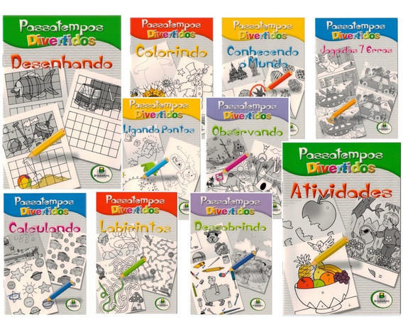 Passatempos Divertidos Para Colorir - Pacote Com 10 Livros