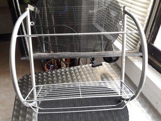 Repisa De Aluminio Amurable De Dos Estantes Y Dos Barras