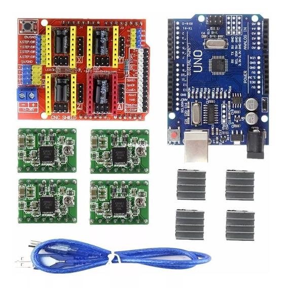 Kit Arduino Uno + Cnc Shield V3 + 4 Driver A4988 + Dissip...