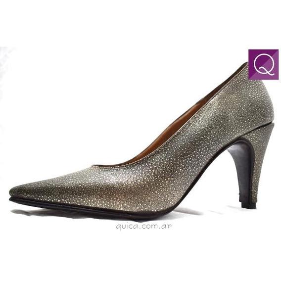 Zapato Mujer Stiletto Cuero Peltre Taco 8 Cm. Quica Valeria