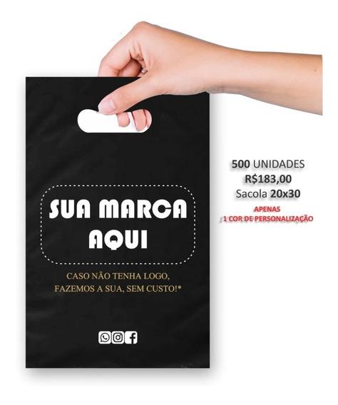 Sacolas Plásticas Personalizadas 20x30 Preto/500uni