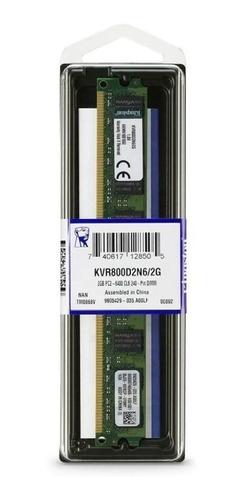 Imagem 1 de 7 de Memória Ram Para Pc 2gb 800mhz Ddr2 Kingston - Kvr800d2n6/2g
