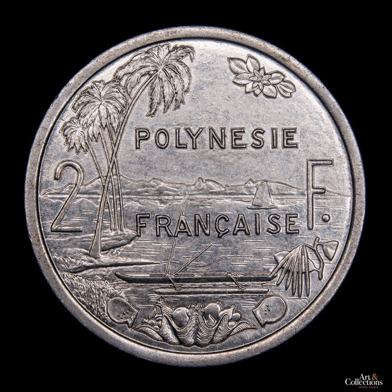 Ch C / Polinesia Francesa, 2 Francs 1991 Km#10 Aluminio