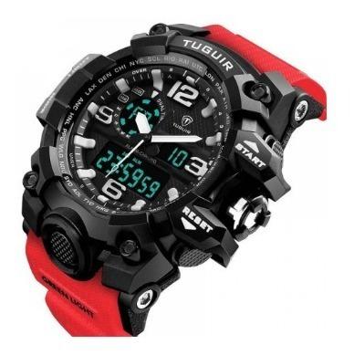 Relógio Masculino Tuguir 1155 Preto/vermelho Na Caixa Com Nf