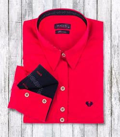 Camisa Social Feminina My Cris Vermelha Poá Slim Fit