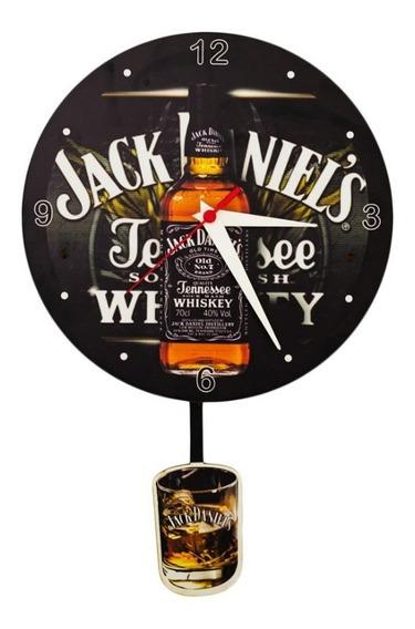 Relógio Analógico Pendulo Cerveja Whisky Em Madeira Mdf