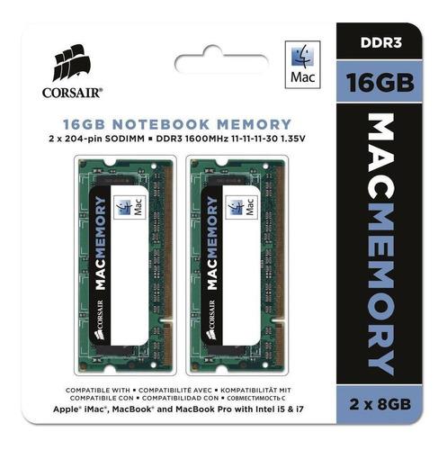 Kit Memoria 16gb 2x8 Ddr3 Corsair 1600mhz-macbook Pro iMac