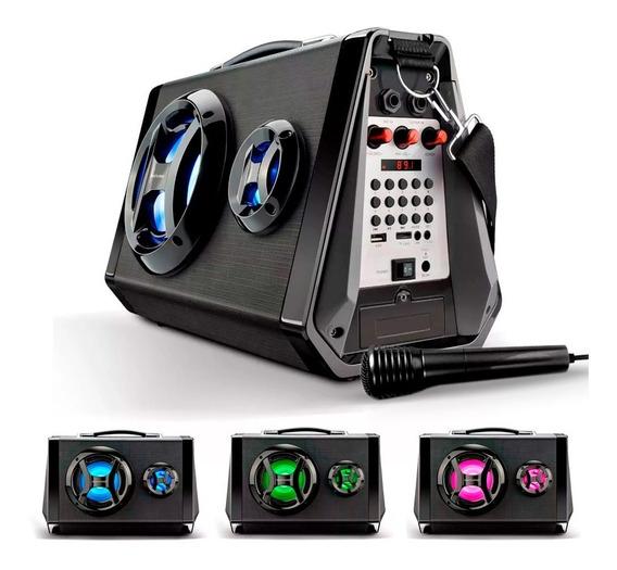 Caixa De Som Festa E Karaoke Acústica Bluetooth Usb Sd