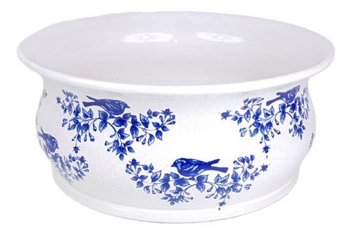 Vaso Branco E Azul Gg | 31 Larg X 13 Alt X 31 Prof