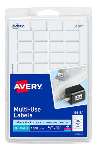 Avery Etiquetas Adhesivas Para Imprimir Blancas 2,5x1 - 5418