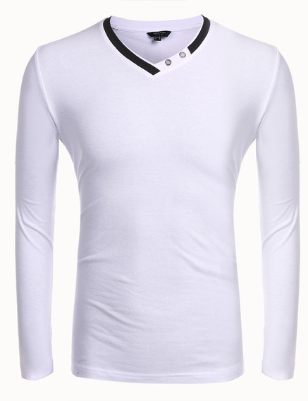 Camisa De Los Hombres Casual V Manga Larga Cuello Suéter De