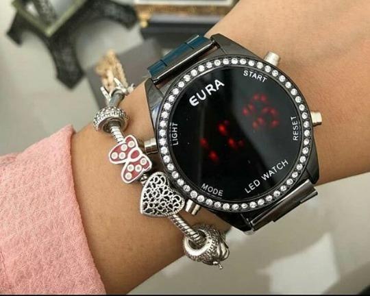 Relógio Digital Black Strass