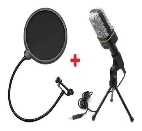 Microfone Condensador Gravação Pc Cabo Tripe + Pop Filter