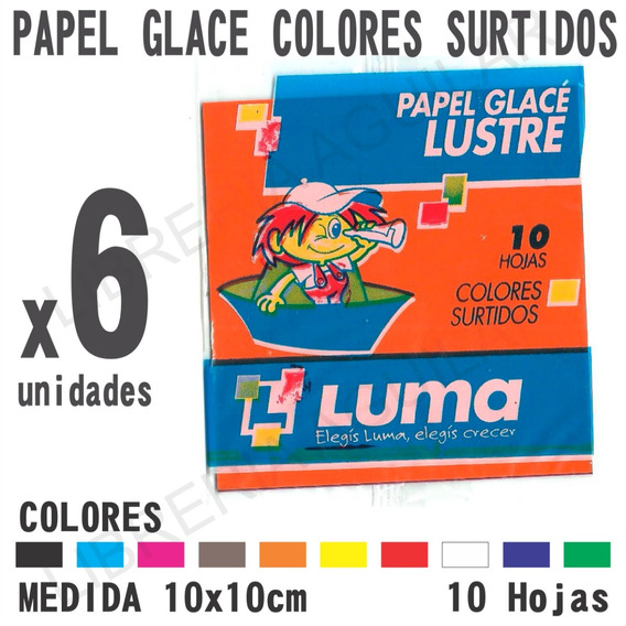6 Paquetes De Papel Glace Colores Surtidos