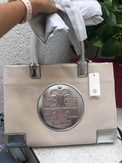 Bolsa Tory Burch 100% Original Ella Grande Canvas Plata