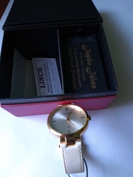 Relógio Feminino Lince Original Banhado Ouro 18k
