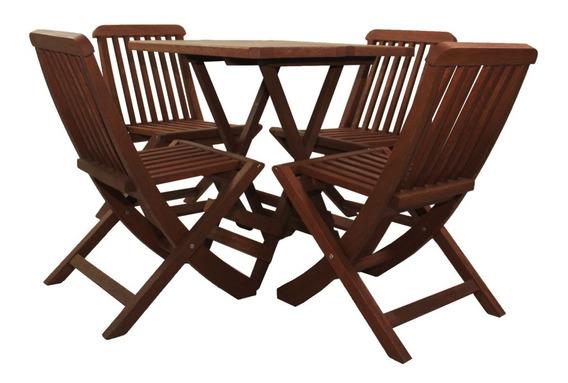 Jogo De Mesa Com 4 Cadeiras Dobrável Em Madeira Ripado
