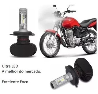 Lampada H4 Ultra Led Farol Moto Cg Honda 150 Fan E Titan