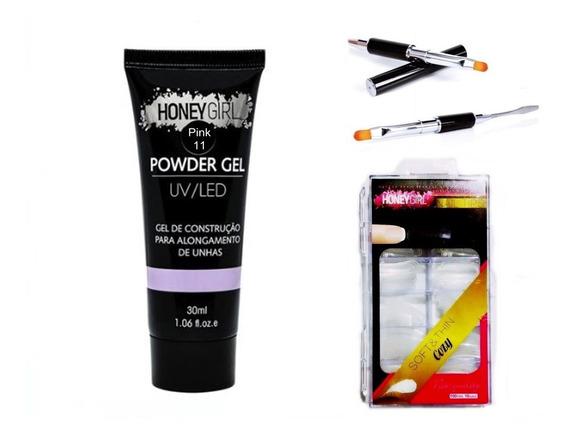 Kit Molde F1 + Polygel Honey Girl 30ml + Pincel Espatula