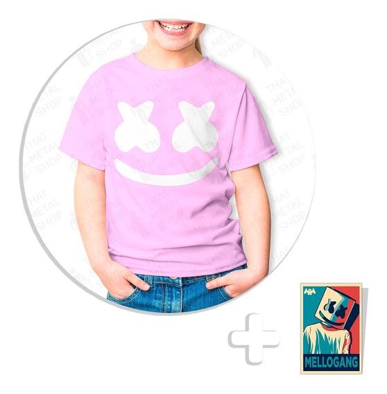 Envío Gratis Playera Rosa Marshmello Niño + Sticker De Regal
