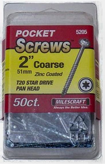 50 Tornillo Pocket Hole 2 Rosca Gruesa Milescraft Torx T20