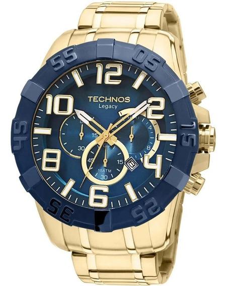 Technos Os20iq/4a Relógio Legacy Ostentação Grande Dourad Nf