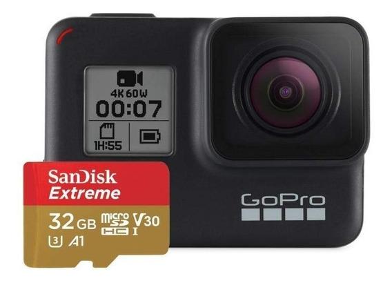 Gopro Hero 7 Black 4k + 32gb Extreme 4k Nf 1 Ano De Garantia