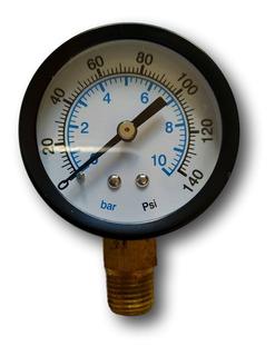 Manômetro Rosca Vertical 1/4 Escala 0 Á 10 Bar 150 Psi 50 Mm